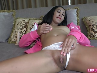 Postop Ladyboy fingers ourselves and pick-up a glass dildo for solo fucking.