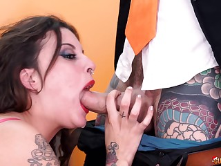Aggravation fucked and face sprayed with cum for tattooed Lily Calipo