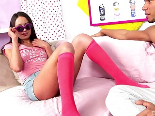 Hardcore ass fuck be required of a brunette in socks and glasses Nataly Von