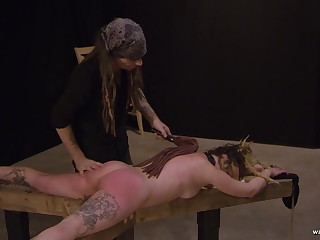 Booked around kinky blonde gets fingered and spanked hard