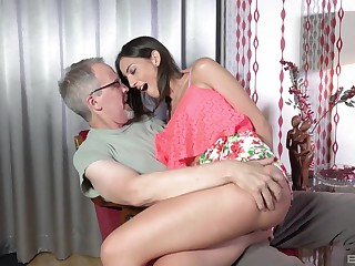 Teen indulge Miky Cherish bent over and pounded hard by an older guy