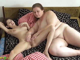 OldNanny Superannuated plus young woman licking plus toying