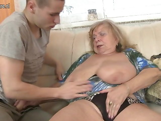 Old busty grandma fucked by youngsters