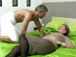 Sexy grandma suck with an increment of fuck lucky boy