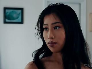 Asian hottie Jade Kush caught her crooked stepdad sniffing her panties