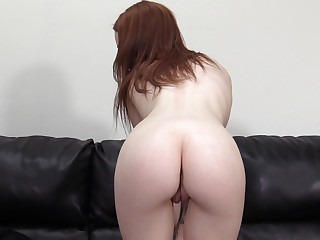 Skinny redhead in glasses Layla gets her pussy fucked and cream pied