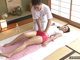 Asian cosset in soaking T-shirt Ichika Aimi gets her pussy fucked and creampied