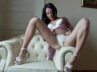 Katanna uses a menacing dildo to make her tight cunt dripping sloppy