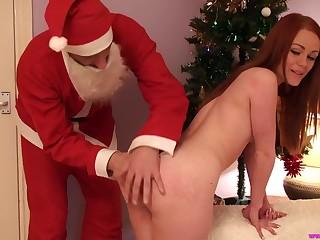 Ella taking Santa monster cock hardcore missionary