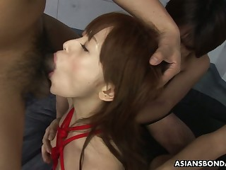 Shibari Asian chick Miina Yoshiwara gets her pussy fucked together with creampied
