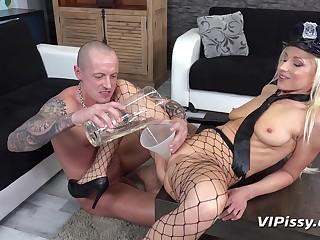Fetish, Heels, Lady, Mature, Mature fetish, Pissing, Small tits, Skinny, Uniform