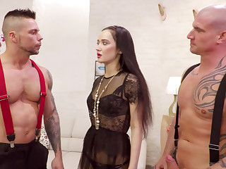 Two censorious guys sharing one Russian girl