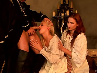 Carla Cox coupled with Jasmina share dick in a costumed role playing threesome