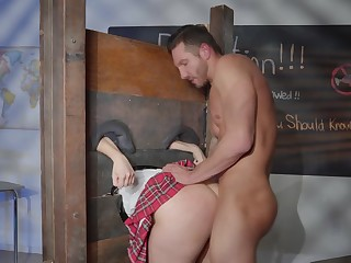 Schoolgirl gets ass fucked at the end of one's tether the horny teacher