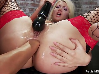 Big-Bosomed blondie ass fucking fisted to donjon