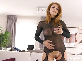 Slutty mature blonde prevalent a fishnet adjust Roberta Gemma sprayed with cum