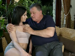 Old fart enjoys fucking lovely young brunette Nikki Fox and cums up her frowardness