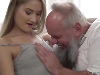 Nubile ultra-cutie vs older grandfather - Tiffany Tatum with the addition of Albert