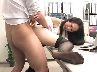 Assistant's fur covered fuckbox dribbling out with jism after office borehole