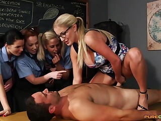 Wild light-haired lecturer flashes say no about schoolgirls how about gargle stiffy