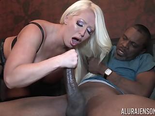 Marketable busty blonde MILF pornstar Alura Jenson chokes on a black dick
