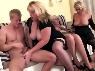 Grannies and moms drag inflate and fuck young not their son
