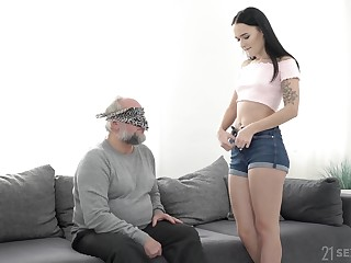 Redress up POV blowjob and light of one's life with Sasha Sparrow and an old guy