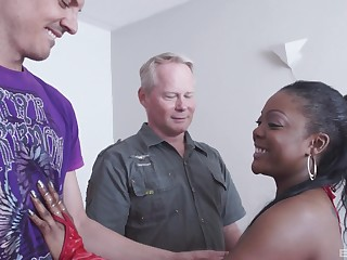 Hardcore interracial MMF triple with ebony Raylene getting curvaceous