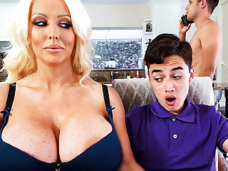 Busty stepmom interested to kinship schoolboy's locate
