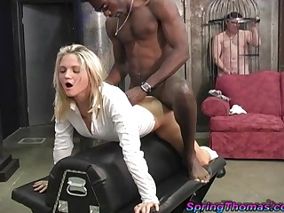 Cuckold in a cage watches Spring Thomas fucked by a swarthy guy