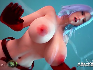Superhero 3d animation with a heavy honkers looker
