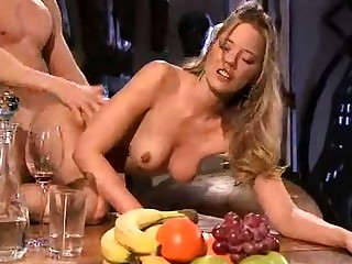 Blonde European female touches and makes love cocktail lounge