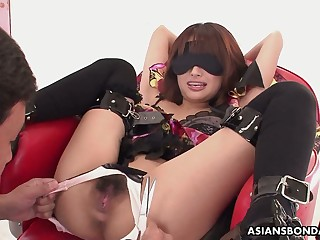 Weird dutiful Japanese chick Mana Aoki is masturbated and fucked doggy