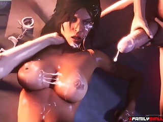 Naughty perfect ass and nice titties Lara Croft enjoying deep pussy drilling from huge monumental cocks