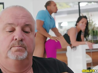 Teen gets fucked by a black dude with their way daddy around