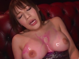 oiled Honda Riko gets her cunt brim with a dildo and friend's vibrator