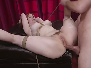 Staggering affianced bosomy redhead Lauren Phillips is hammered missionary style