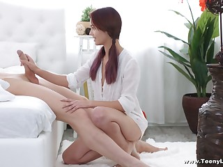 Cute red haired girlfriend Michelle Can gives a blowjob after lunch