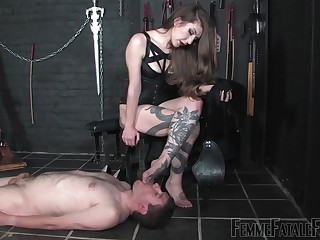 Dominant mistress treats her man far disrespect and brutal anal