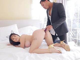 BBC bangs anal hole of super juicy white babe with big ass Lana Rhoades