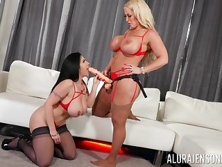 Hot milfs share the strap-on in taking lesbian play