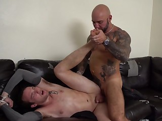 Muscular man ass fucks gay slave plus armed services him to swallow