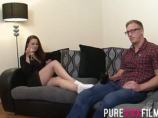 Having seduced nerdy dude Romanian nympho Lara Pierce Deene enjoys riding cock