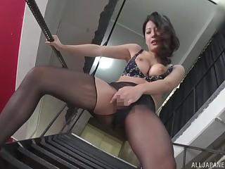 Solo Asian girl Suzuki Satomi in pantyhose masturbates on the stairs