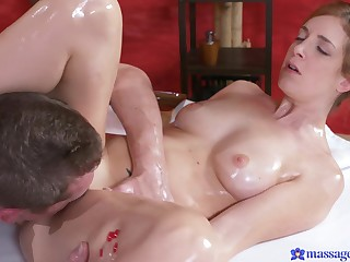 Irina Vega received a massage and big cock inside shaved pussy