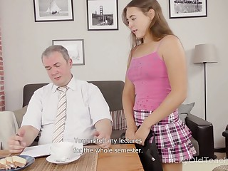 Spoiled Russian chick curtly unfocused Mara Gri seduces old rail against for sex