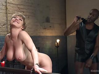 Black dominant lady's man ties up his lover Dee Williams plus spanks her