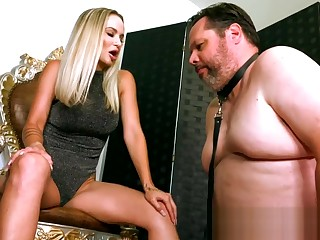 Unmitigatedly Sexy Blonde Woman Gives Fat Chastity Slave 3.5 Months to Get Unlocked