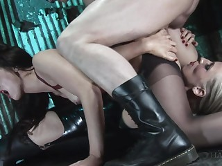 Sluts up same lecherousness porn are sharing dick in kinky good-luck piece