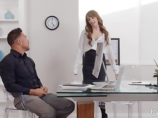 Kimmy Granger spreads her long legs in the office sexual intercourse with her queen